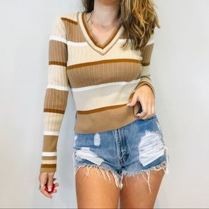 vintage neutrals striped retro ribbed sweater